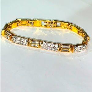 Swarovski Crystal Gold Tone Tennis Bracelet